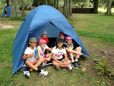 Tent pitching at camp